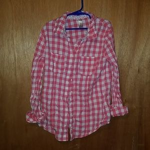Pink and white plaid button up